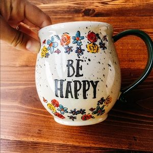 "Floral ""Be Happy"" Mug"